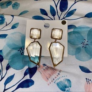 Gold and clear gem drop earrings